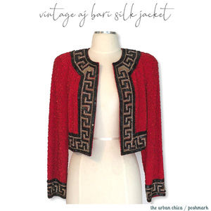 VTG A.J. Bari Red Black Silk Sequin Crop Jacket